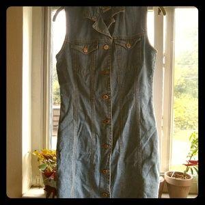 Vintage denim button down mini Dress size s